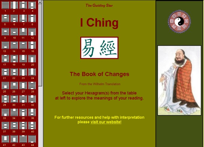 Beautifully rendered full translation of the I Ching with automated coin oracle.